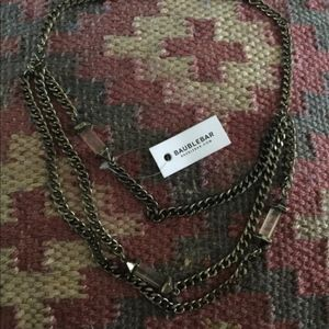 NWT! BaubleBar Layered Chain & Crystal Necklace